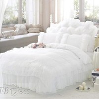 Pure Jacquard 4 Piece Bedding Sets With Lace Full Size from promdresses2012