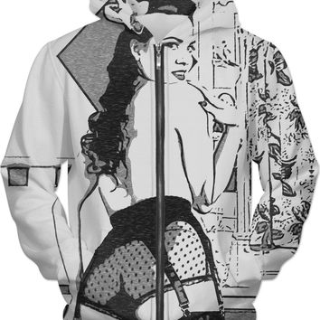 Adult series, unisex fit hoodie - Pin-Up beauty in lingerie, sexy booty view