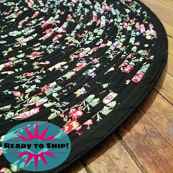"""Handmade 42"""" Round Area Rug Black with Pink and Yellow Pattern Bohemian Chic"""