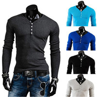 Solid Color Long Sleeve Henley SOS