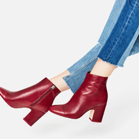 HIGH HEEL LEATHER ANKLE BOOTS WITH TOE CAP - NEW IN-WOMAN | ZARA United Kingdom