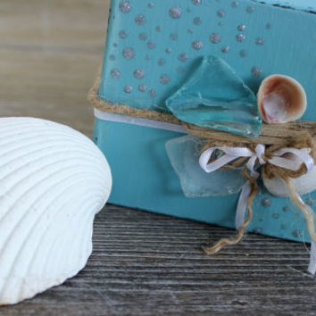 Beach Wedding Driftwood , Seaglass & Shell Keepsake Gift Box / Gift Card Holder