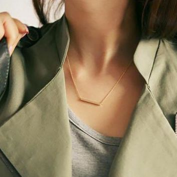 lowest price 2016 new Fashion Gold silver bar Necklace for women Girl Gift Bijoux Circle gold Color simple Pendant Necklace