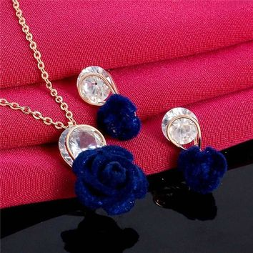 Blue Rose Police Support Gem Necklace and Earrings Set