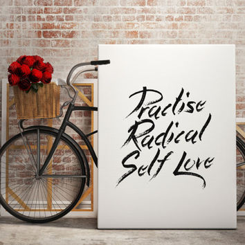 Home & Living Typography Poster Practice Radical Self Love Print wall Quote Inspirational Print Love Art Mantra Boho Wall Art Graffiti Style