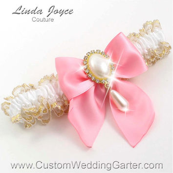 White and Pink WEDDING GARTER Pearl Bridal Garter 112 White - 151 Peony Pink Gold Prom Garter Plus Size & Queen Size Available too