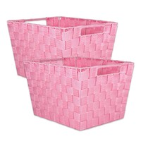 "DII Durable Trapezoid Woven Nylon Storage Bin or Basket for Organizing Your Home, Office, or Closets (Basket - 12x10x8"") Pink - Set of 2"
