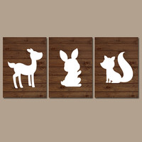 WOODLAND Wall Art Nursery DEER Rabbit Bunny Fox Artwork Wood Forest Girl Boy Set of 3 Trio Prints Crib Baby Decor Three