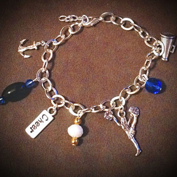 Cheer Metal Charms with Glass Bead Charm Bracelet interchangeable