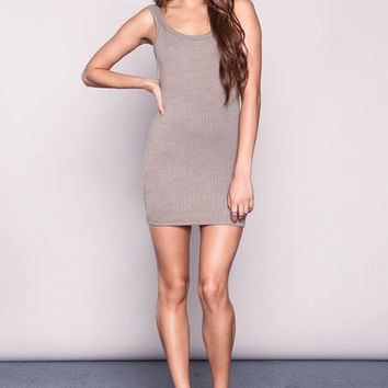 KHAKI PLUSH RIBBED KNIT TANK DRESS