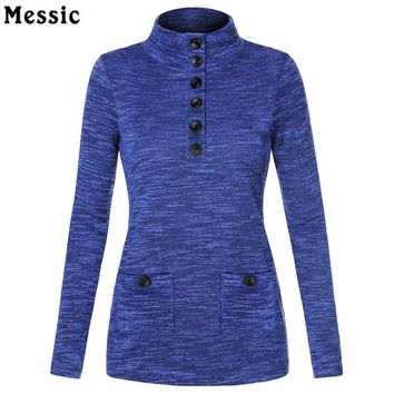 Women's Spring Knit Stand Neck Pullover Slim Fit Button Tunic Shirt Women Vintage  Long Sleeve Tops Ladies Work Elegant Blouse