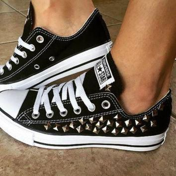 DCKL9 Custom Black Converse All Stars Studded Chuck Taylors ALL SIZES & COLORS! Custom Shoes