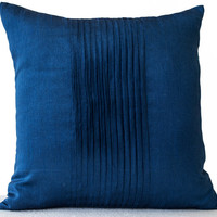 Throw pillows in dark blue art silk - Attractive cushion in rippled pin tuck pattern - Decorative pillows for sofa -Couch pillow -Gift 16x16