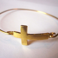 Gold Sideways Cross Bangle Bracelet Gold Charm Cross - Stackable Bangle Bracelet - Christmas Gift - Bridesmaid Gift - Gift under 15