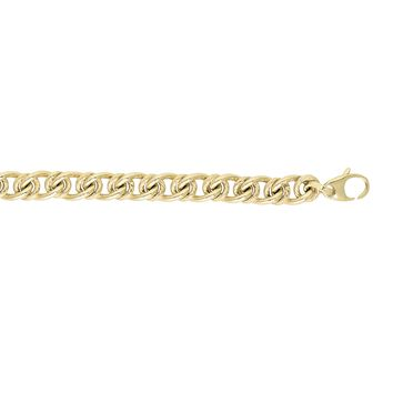14k Yellow Gold 6mm Shiny+Textured Alt.Large Oval -Small Round Link Fancy Bracelet with Lobster Clasp