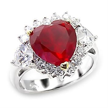 6CT Heart Cut Red AAAA Cubic Zirconia Heart Halo Side Accent Ring