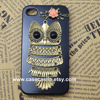 Antique Owl iphone case,owl on the branch ,resin flower case for iPhone 4 Case, iPhone 4s Case, iPhone 5 Case, hard case