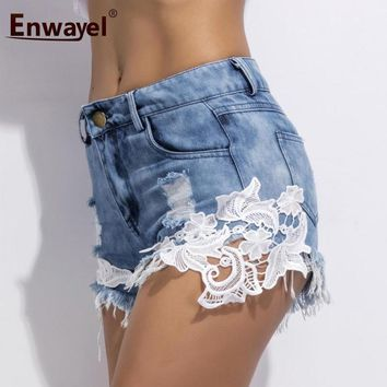 ENWAYEL Summer Casual Hole Lace Denim Shorts For Women Patchwork Flower Tassel Sexy Beach Blue Ripped Pocket Jeans Short Female