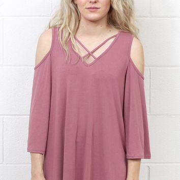 Cupro Cold Shoulder + Strappy Front Top {Mauve}