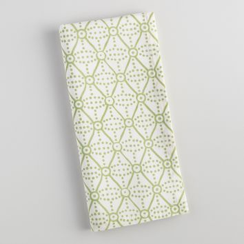 Green Diamond Dot Napkins Set of 4