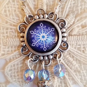 Cobalt Blue Snowflake Necklace, Dangle Necklace, Winter Jewelry, Snowflake Cabochon, Blue Glass Bead Wrap Chain, Silver Filigree Pendant
