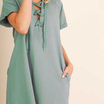 Caribbean Teal Lace Up Dress