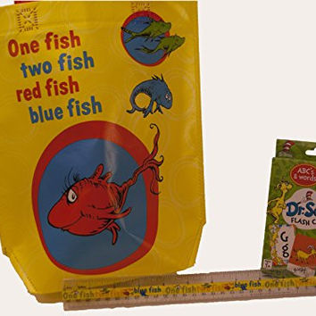 "Dr Seuss Shopper Tote featuring One Fish Two Fish graphics, Plus Flash Cards and 12"" Ruler"
