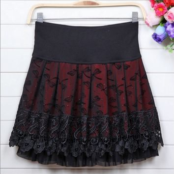Season Pleated Skirt Lace Skirt Skirt Large Size Ou Gen Sha Peng Peng Skirt B0015251