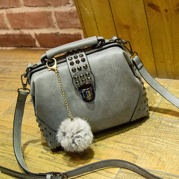 Bags Rivet Vintage Messenger Bags Ladies Matte Shoulder Bags [6581261767]
