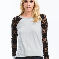Floral Lace Baseball Tee