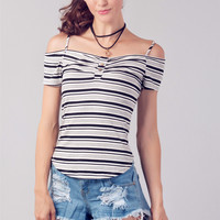 Striped Cutout Top