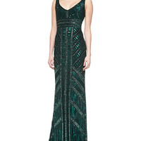 Women's Sleeveless Beaded Column Gown - Theia - Hunter