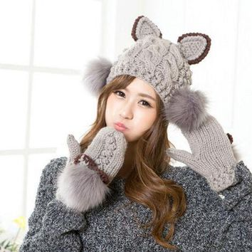 DCCKJG2 Cute Women Warm Knitted Hat Devil Cat Ear Horns Winter Cap Bobble Fur Head Beanie Gloves (price is just for 1pc, goves or hat)