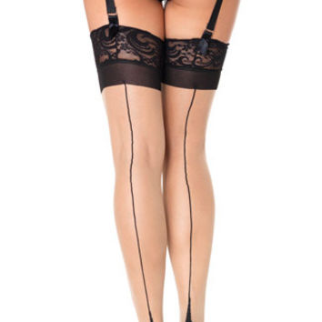 Spandex Sheer Cuban Heel Thigh Highs