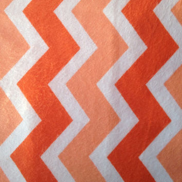Zig Zag Orange and White Chevron Snuggle Flannel Fabric, 1 Yard, more available