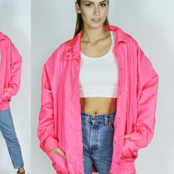 80s neon PINK jacket oversized OS bright fuschia