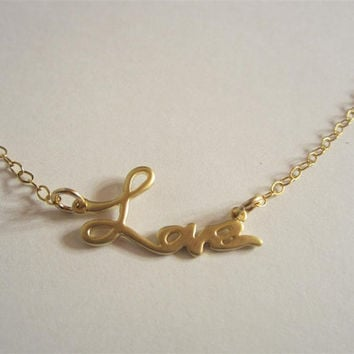 Gold Love Necklace, Love Pendant, Gold Charm