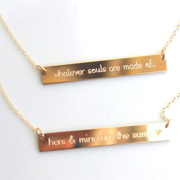 Custom Engraved Word Sentence Quote Gold Roman Numeral Date Personalized GOLD bar necklace Nameplate Horizontal Initial Monogram sterling
