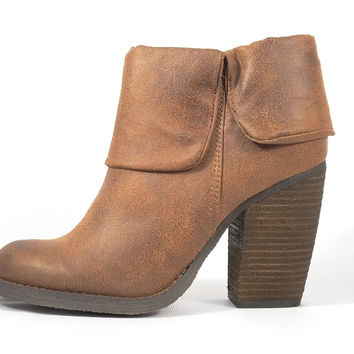 Brush Up Tan Distressed Block Heel Ankle Boots Heels