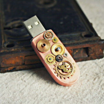 Steampunk Copper USB Flash Drive, 8 GB, 2.0 Flash Drive - Handmade with Copper and Brass Vintage Watch Parts, Cogs, Gears
