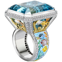 Theo Fennell Aquamarine Diamond Gold Cocktail Ring