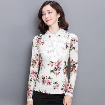 New style Beaded lalce Clothing 2016 Blusa Plus size Chiffon shirt Slim floral Printed shirt long-sleeved Women lace Blouse Tops