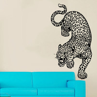 Wall Decals Leopard Vinyl Decal Wild Animals Sticker Home Interior Design Art Mural Living Room Decor Cheetah Art Mural Bedroom Decor KT166
