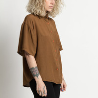 Vintage 80s Brown Oversized Button Up Pocket Shirt | L
