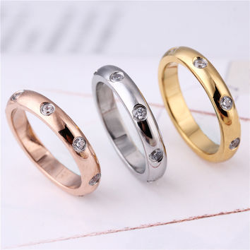 2016 Hot 18K Gold Filled Rings For Women Stainless Steel Color Not Fade Eternity White CZ Wedding Engagement Simple Finger Rings