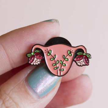 Uterus Enamel Pin TINY Feminist Enamel Pin- Blooming Uterus Feminist Gift Cuterus Women' Rights Reproductive Rights Lapel Pin Girl Power Art