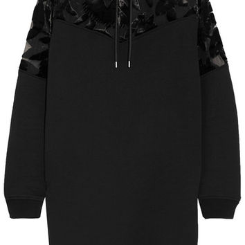 McQ Alexander McQueen - Devoré velvet-paneled cotton-jersey hooded mini dress