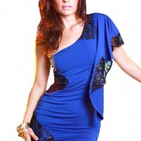 Lace One Shoulder Mini Dress - Diva Hot Couture
