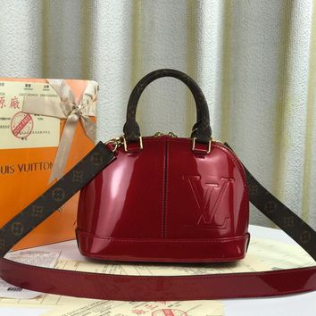 Louis Vuitton LV Red Women Leather Shoulder Bag Crossbody Satchel Handbag