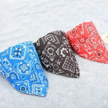 Printed Towel Dog Bandana Collar Nylon Cotton Pet Scarf Tie Neckerchief for Kittens Cat Puppy Custom Necklace Pet Accessories